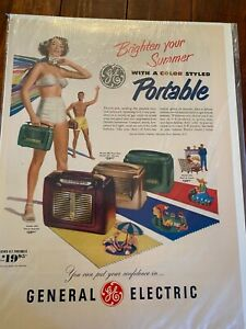Vintage 1950 GE Color Styled Portable Radio Couple On Beach ad
