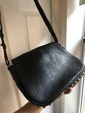 Alexander Wang Black Pebbled Leather Lia Shoulder Bag Bronze Studs