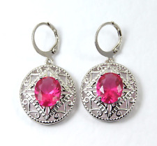 Earrings 9ct White Gold Drop Pink Sapphire & Diamond Silver Party Gift