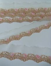 "1-1/4"" Tan / White Embroidered Flowers Net Lace Trims-2 Yards-T129"