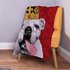 Bulldog With Crown Red Design Soft Fleece Throw Blanket