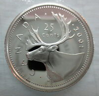 2001 CANADA 25 CENTS PROOF SILVER QUARTER HEAVY CAMEO COIN