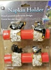 Set of 4 Resin Napkin Holder Rings By Pier 1 Bears on Birch Logs By Rivers Edge