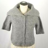 Sarah Spencer Women's Lamb Wool Cardigan Sweater Short Sleeve Shawl Neck Gray