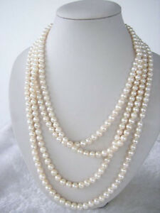 beautiful 7-8mm Natural White Akoya Cultured Pearl Necklace 70""