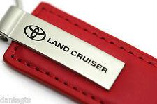 Toyota Land Cruiser Red Leather Key Chain Metal Key Ring Fob Lanyard TRD