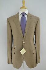 Brunello Cucinelli Linen Wool Silk Sport Coat Tan Houndstooth Check 42R NWT