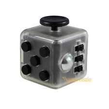 CLEAR Black Fidget Toy Cube Anxiety Stress Relief Focus Attention Block Square