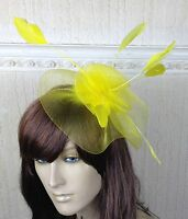 yellow netting feather hair headband fascinator millinery wedding hat ascot race