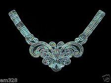 VN98 Lace Venise Venice Sequin Applique Fluer De Lis V-Neckline Collar Motif
