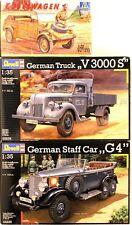 Revell/Italeri lot of 3, 1/35, German V3000S Truck, G4 Staff Car and Kubelwagen