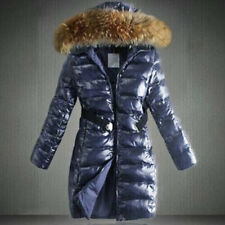 Womens Ladies Quilted Winter Coat Puffer Fur Collar Hooded Belt Jacket Parka Top