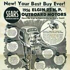 1956 ELGIN Boat Motor Original Large Advertisement Poster SEARS ROEBUCK & Co.