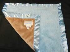 "Blankets & Beyond Blue Tan Brown Baby Security Blanket Satin Trim Lovey 14 x15"""