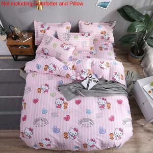 Hello Kitty Cat Cartoon Kid's Comforter Cover Flat Sheet Pillowcases Bedding Set