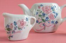 Childs Porcelain Tea Set 11 Pieces Honghua Craft Flowers Pink Blue 4 servings