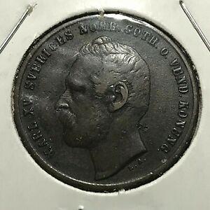1863 SWEDEN 2 ORE BETTER GRADE BRONZE COIN