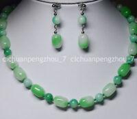 Vintage 8mm Round & 10x14mm Barrel Light Green Jade Beads Necklace Earrings Set