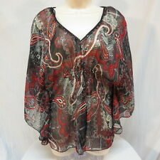Wild Cat Very Sheer Red Black Silk Blend Shirt Size XL