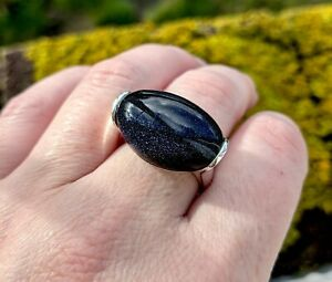 Sterling Silver Statement Blue Goldstone Ring - Size T