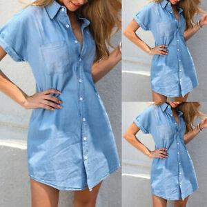 Womens Short Sleeve Long Denim Blouse Ladies Casual Buttons Jeans Tops T Shirt