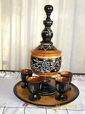 New listing Jamaican Burwood Beverage Set / Hand Carved / Tray, Urn & Five Cups