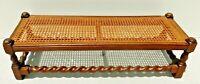 "Antique/Vtg 35"" BARLEY TWIST Solid Oak Wood & Cane Foot Stool Ottoman Bench"