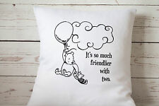 """Friendlier with two - 16"""" cushion cover Vintage Winnie The Pooh Nursery chic"""