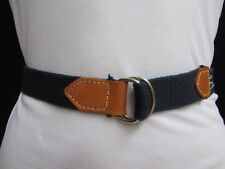 Women Navy Blue Fabric Fashion Boat Belt Silver Metal Buckle Faux Leather XS S