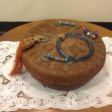 Antique wicker sewing Tibetan prayer basket glass beads silk thread wood spools