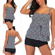 Sexy Women Plus Size Tankini Sets Two Piece Swimwear Swimsuit Push Up Bra Padded
