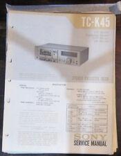 Sony TC-K45 Manual de taller de reparación de servicio Platina de cassette (copia Original)