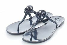 U14 $98 Women's Sz 6 M Tory Burch Mini Miller Jelly Logo Flat Sandals - Navy