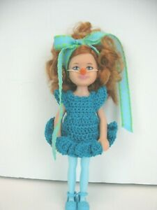 KELLY & friends Doll with case & Handmade turquoise crochet dress.  Carrot nose