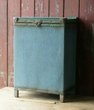 Vintage Storage Blue Glass Top Table Retro Woven Loom Laundry Basket