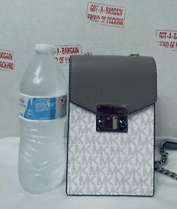 Michael Kors Rose Small Phone Crossbody Bright White MK Signature Leather Bag