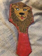 Vintage Folk Art Paper Mache Lion Hand Mirror-in style of Gemma Toccagna-unique!