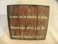 'ABILITY/MOTIVATION/ATTITUDE' Plaque - XL - Wooden