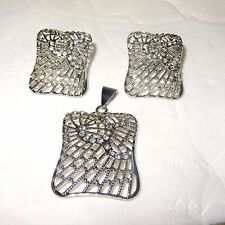 Silver Plated Costume Square Shape Fashion Women Earring & Pendant Jewellery