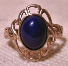Sterling Silver and Cabochon Lapis Ring with Pierced Oval Face (Size P.5)