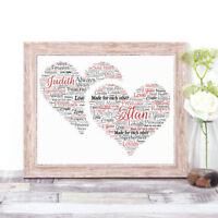Personalised DOUBLE HEART Word Art Print Word Cloud Anniversary Valentines Gift