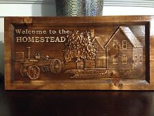 "11"" x 23"" Personalized Carved Wood Carved ""Welcome to the Homestead"" Sign"
