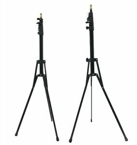 2 Lightweight Light Stands | Black | Extends 6.2' | Folds to 19"