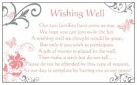 10 WISHING WELL CARDS coral pink & silver butterflies wedding invitations gifts