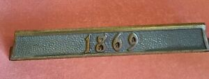 Antique / Vintage Brass House Number Plaque ~ #  1869~  We Ship!