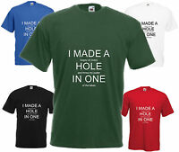 Hole In 1 T Shirt Funny Top Joke Golf Tee Xmas Gift Birthday Present Golfing