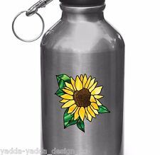 """CLR:WB - SUNFLOWER Stained Glass Style Water Bottle Vinyl Decal ©YYDC (2.75""""dia)"""