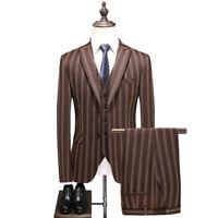Brown Stripe Men Peak Lapel Suit Groom Tuxedo Wedding Prom Party Dinner Suit