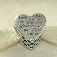 New Authentic Pandora Charm Celebration Heart Bead 792060 W Tag & Suede Pouch