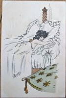 Risque, Artist-Signed 1911 Postcard: Nude Woman in Bed, Large Pillows